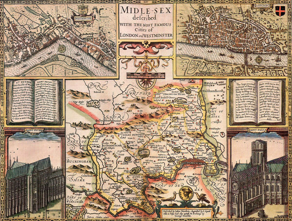 Uncoloured MIDDLESEX 1610 by John Speed