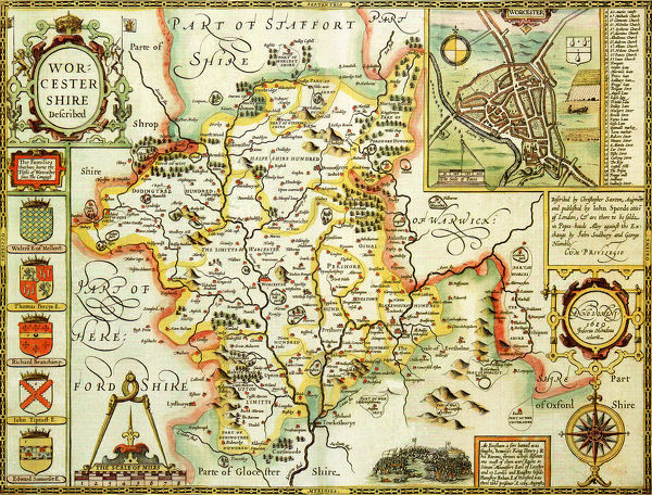 Worcestershire Historical John Speed 1610 Map