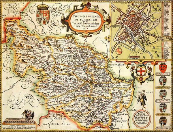 Yorkshire West Riding Historical John Speed 1610 Map